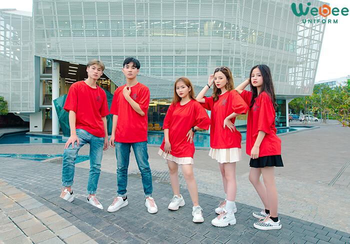 Áo lớp đồng phục màu đỏ đẹp W033-01