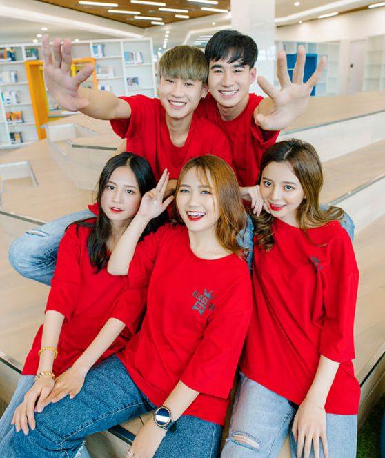 Áo lớp đồng phục màu đỏ đẹp W033-02