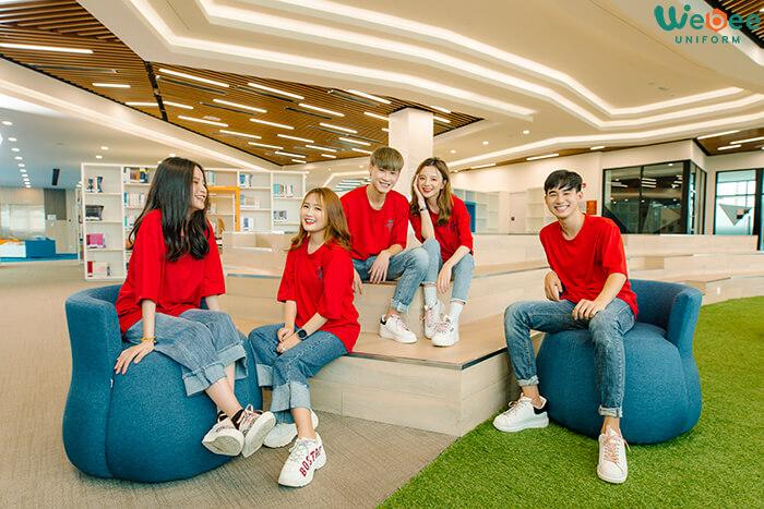 Áo lớp đồng phục màu đỏ đẹp W033-03